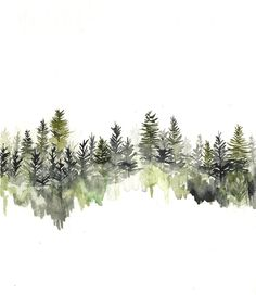 'tree line' Hi by Rachael Ryan #watercolor #treeline #hirachaelryan
