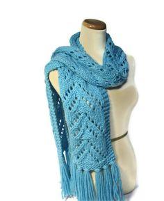 Bonnie Blue Lacy V Hand Knit Scarf. $65.00, via Etsy.