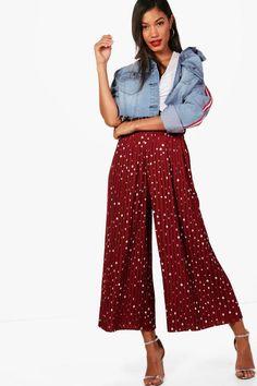 38f7319fcd6ef Woven Pleated Polka Dot Culottes - $18 Tupfen, Harem Pants, Trousers,  Rock,. Boohoo UK