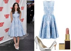 """""""Emmy Rossum's Ice Blue Dress"""" by thebeautyinsiders ❤ liked on Polyvore"""