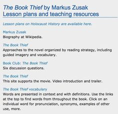 teaching the book thief by marcus zusak i like the idea of having the book thief lesson plans web english teacher