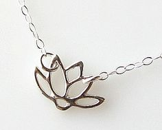 sterling silver necklace lotus necklace, bridesmaid gift simple necklace dainty necklace small jewelry