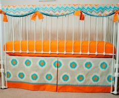Modern Retro Aqua, Gray, and Orange  Baby Boy Crib Cot Bedding with Crib Rail Guard / Rail Cover
