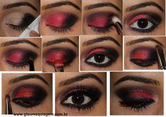 Maquiagem com sombra vermelha