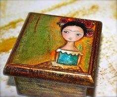 New! Frida   Original Mixed Media Handmade Jewelry Art by FlorLarios, $20.00