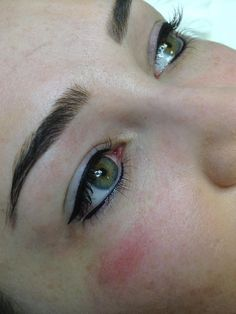 Eyeliner Tattoos and semi-permanent Eyeliner Makeup. Client from Bearsden Glasgow showing her lovely new permanent eyeliner treatment from million dollar brows