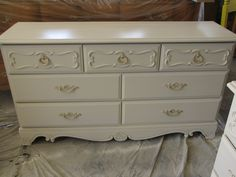 After - Ashley Dresser (I don't know why it looks yellow-ish, it is the same color as the French Provincial Dresser in my other pin, and the matching desk to this one. SOLD