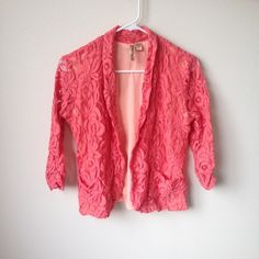 Peach lace blazer with see through sleeves Great to add some fun to a business outfit! Eyelash  Jackets & Coats Blazers