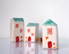 Ornament Ceramic houses Gift tag Christmas by VitezArtGlassDesign