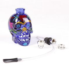 1pc top fashion punk ghost head skull style mini Smoking Tobacco Pipe Glass Weed Water Pipes Chicha Nargile Hookah Accessory