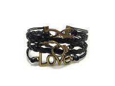 Handcuff Bracelet, Love Bracelet, Infinity Bracelet, Friendship Bracelet, Bohemian Bracelet, Charm Bracelet, Leather Bracelet, Gift for Her  This