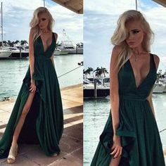 2017 custom made charming chiffon dark green prom dresses,sexy deep v-neck evening dresses,sleeveless prom dresses - Thumbnail 7