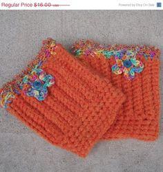 ON SALE Crochet Boot Cuffs Legwarmers Orange by WildHeartYarnings