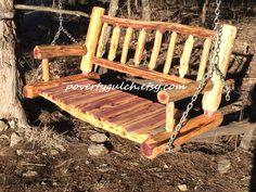 Log Porch Swing - Cedar Porch Swing - Wood Porch Swing - Rustic Log Porch Swing - Country Porch Swing by PovertyGulch on Etsy