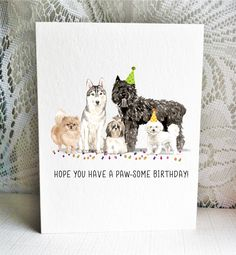 Available on Etsy, featuring a Pomeranian, Siberian Husky, Shih Tzu, Bouvier des Flandres, and Bichon Frise dogs.