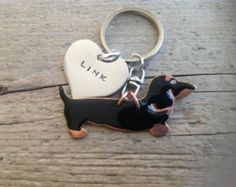 Black and Tan Dachshund Custom Keychain Doxie, Your Dogs Name