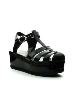 fd389d54a6f Platform jelly sandals in black with silver hardware and adjustable ankle  strap. Perfect for the