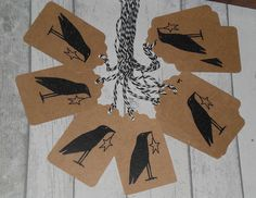12 Primitive Hang Tags Gift Ties  Old Prim Country Crow with