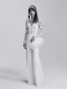 Elie Saab doesn't seem to experiment much with silhouettes. This wedding jumpsuit reminds me of those from his resort collection. Not complaining though. Totally love it. See the complete Elie Saab Bridal Spring 2017 collection. Spring 2017 Wedding Dresses, Wedding Dress Trends, Bridal Wedding Dresses, Wedding Dress Styles, Spring Dresses, Bridal Style, Spring Wedding, Wedding Bride, Cake Wedding