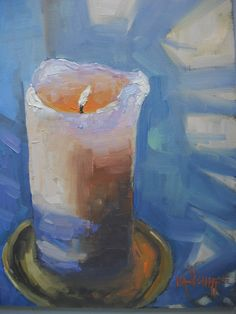 Candle with Shadows by Carol Schiff - I placed a candle on my window sill. Shadows from a palm. Vango Art, Candle In The Wind, Original Art, My Arts, Candles, Studio, Oil Paintings, Shadows, Collections