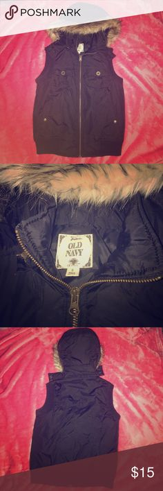 Puffy vest w/ faux fur collar Black vest with multiple pockets. Bronze buttons and zipper Old Navy Jackets & Coats Vests