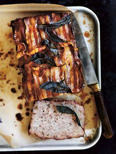 maple-glazed meatloaf with crispy sage and pancetta from donna hay Basics to Brilliance cookbook Mince Recipes, Pork Recipes, Cooking Recipes, Fall Recipes, Chicken Recipes, Charcuterie, Meatloaf Glaze, Pork Meatloaf, Donna Hay Recipes