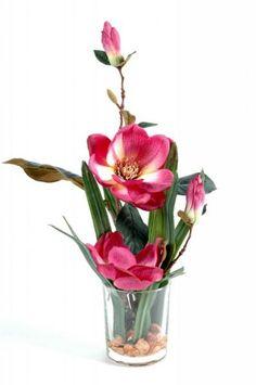 Vase illusion deau MAGNOLIA real touch fleurs artificielles Qualité luxe 45cm