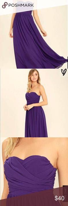 Lulus purple dress Let the Love and Be Loved Purple Strapless Maxi Dress fill your heart with joy! Panels of chiffon elegantly drape across a strapless, sweetheart bodice with lightly padded cups, no-slip strips, and elastic at back. Cascading maxi skirt falls from a gathered waist. Hidden back zipper/hook clasp. Fully lined. 100% Polyester. Hand Wash Cold. Lulu's Dresses Maxi