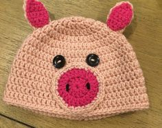 Childs crochet pig hat