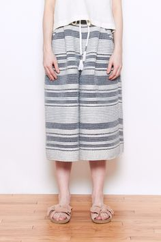 Laura Siegel Striped Culottes Recycled Saree. Handwoven, heavy weight culotte with elastic waistband, detachable rope belt and side pockets.  90%Recycled P...