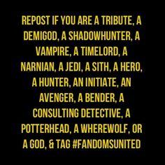 REPIN. I am a Jedi, a Hero and a Potterhead #FANDOMSUNITED