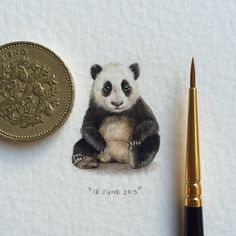 Day 35/100 (9/25) : Giant panda | Ailuropoda melanoleuca. 20 x 25 mm.