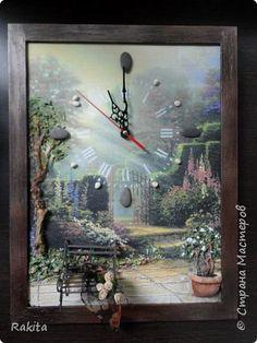 Картина панно рисунок Папье-маше Объемные настенные часы Бумага фото 1