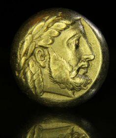 Very-sharp-Ancient-Greek-Gold-Coin-Lesbos-Mytilene-Zeus-Snake-1-6-stater-Hecte
