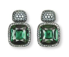 Hemmerle, earrings, tourmalines, garnets, silver, white gold. Image courtesy of Hemmerle
