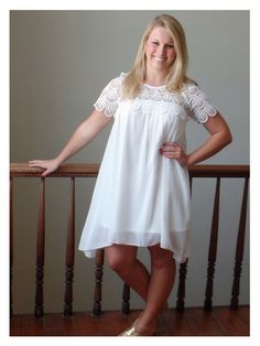 Hepburn Dress - Sassy Shortcake Boutique - intricate scalloped detail - perfect shower dress - love!