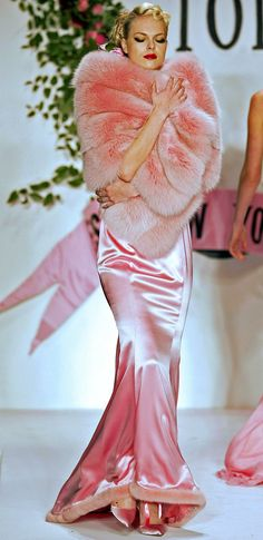 What girl would not want to dress in pink satin and fur a la  Marilyn Monroe just once ?