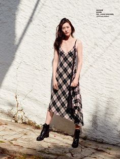 Liu Wen has a grunge moment in plaid dress and boots for Grazia China Magazine June 2016