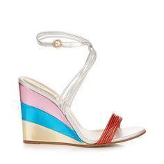 Chloé Metallic rainbow wedge sandals ($530) ❤ liked on Polyvore featuring shoes, sandals, scarpe, wedges, silver multi, pink leather sandals, rainbow sandals, leather wedge sandals, blue leather sandals and rainbow leather sandals