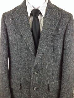 Men's Harris Tweed Hunter Haig Charcoal Coat 40R Blazer 100% Scottish Wool U.S.A #HarrisTweed #TwoButton
