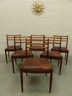 60s 70s G PLAN Set of x6 Mid Century Retro Vintage Teak Dining Chairs Danish Era