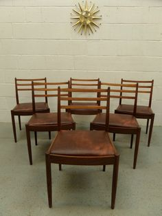 60s 70s G PLAN Set Of X6 Mid Century Retro Vintage Teak Dining Chairs Danish Era