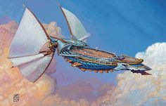 Skyship Weatherlight from Magic the Gathering playing card game Dirigible Steampunk, Steampunk Airship, Dieselpunk, Sci Fi Fantasy, Fantasy World, Design Steampunk, Flying Ship, Savage Worlds, Treasure Planet
