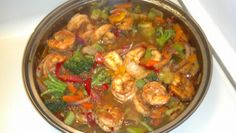Chef Tanksley made this using the medifast fajita seasoning, shrimp and mixed/colored peppers and veggies.  A nice cold weather meal.