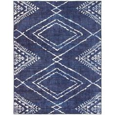 Dakota Fields Geometric Blue Area Rug | Wayfair Machine Washable Rugs, Rug Cleaning, Online Home Decor Stores, Online Shopping, Woven Rug, Blue Area Rugs, Colorful Rugs, Rug Size, Moroccan