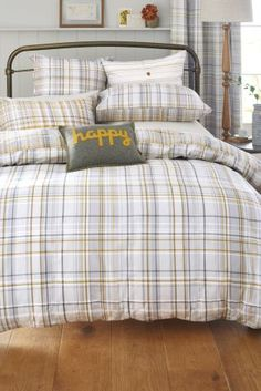 Buy Two Pack Ochre Check Bed Set from the Next UK online shop