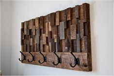Coat Rack Reclaimed Wood Art 36x18.5x4.5