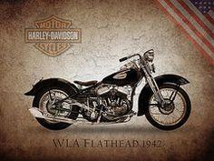 Harley Davidson Framed Prints - Harley Davidson Flathead Framed Print by Mark Rogan