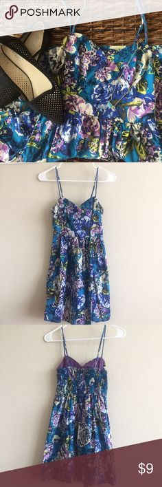 Xhilaration | Floral Sundress Size XS, worn once for a few hours for my college graduation ceremony a couple of years ago. Zero signs of wear, adjustable straps, and has pockets! Xhilaration Dresses Mini