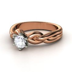 Eternal Braid Solitaire Ring, Round White Sapphire Rose Gold Ring from Gemvara